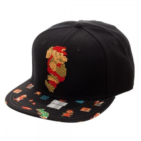 first rate 2f5f5 1f54c Prepare to dash through your day like Mario hopped up on a Super Star in  this Mario 8Bit Sublimated Bill Snapback hat. The black acrylic wool cap  has an ...