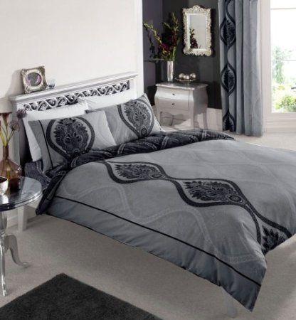 Black Dark Grey Printed Double Duvet Cover Bed Set Amazon Co Uk Kitchen Home Bedroom Bedding Sets Bedding Sets Double Duvet Covers