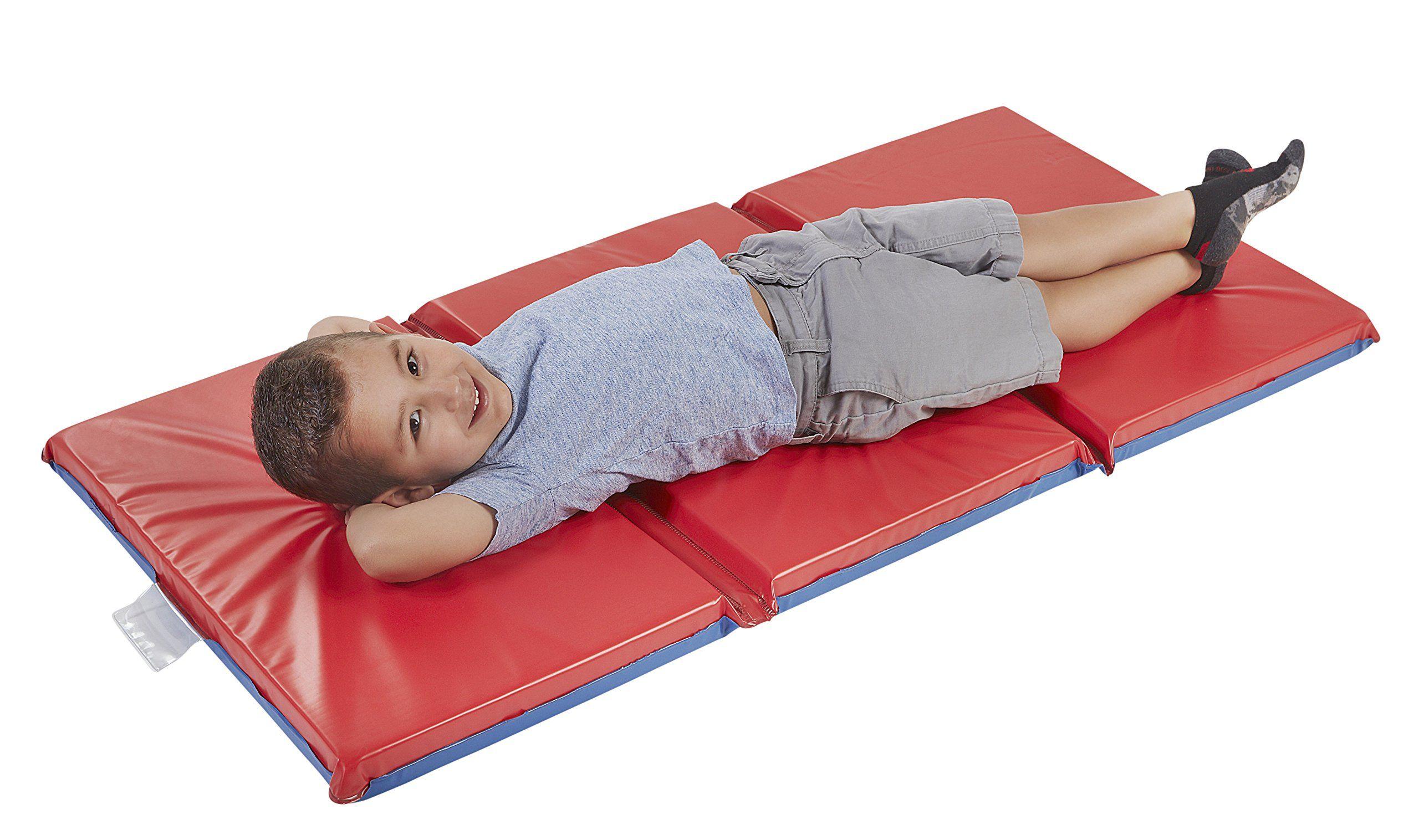 Ecr4kids Premium 3 Fold Daycare Rest Mat Blue And Red 2 Thick Ad Fold Daycare Ecr4kids Premium Ecr4kids Toddler Nap Toddler Nap Mat