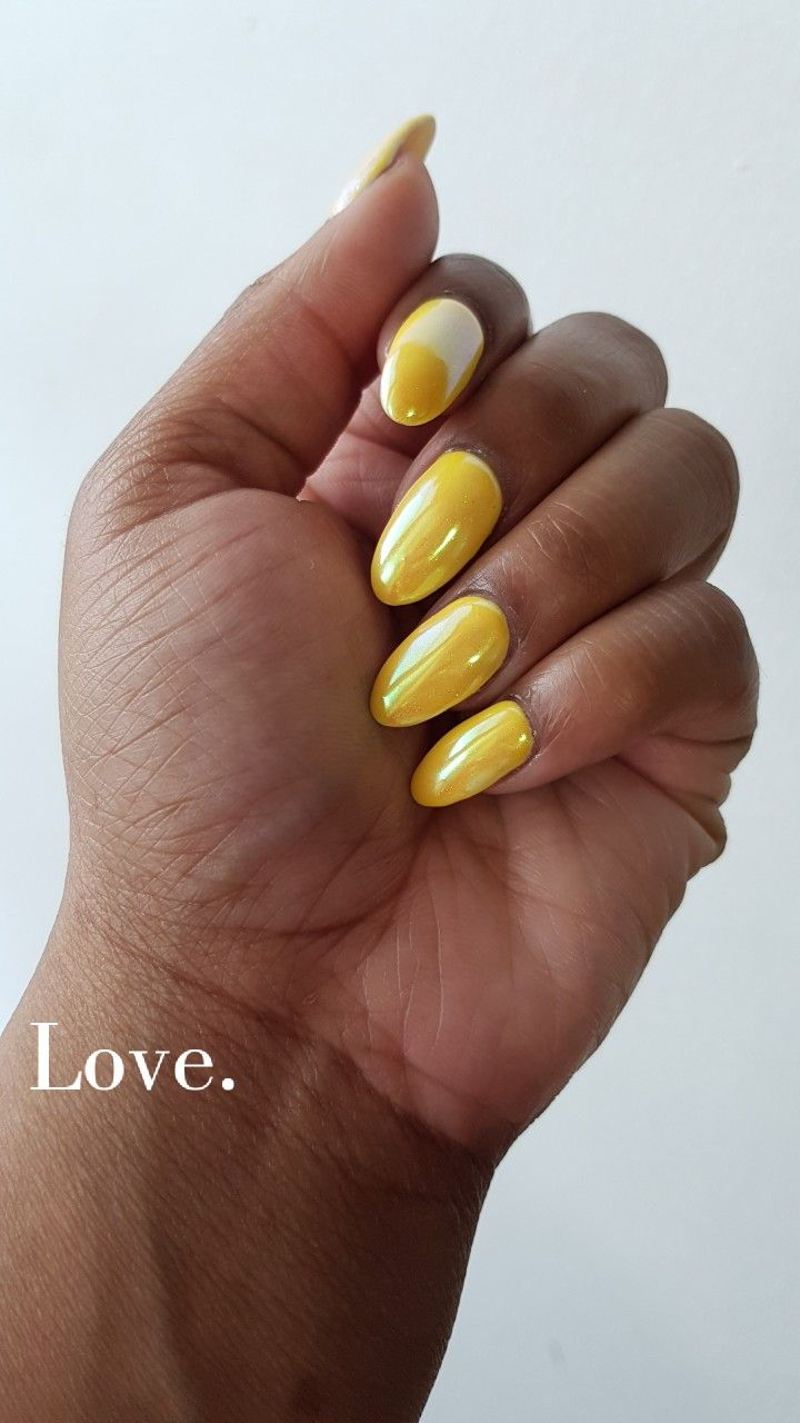 Yellow Nails With Chrome Chrome Nails Yellow Nails Nails