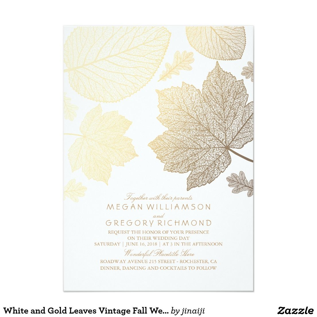 Gold Leaves Vintage Elegant Fall Wedding Card | Vintage fall, Fall ...