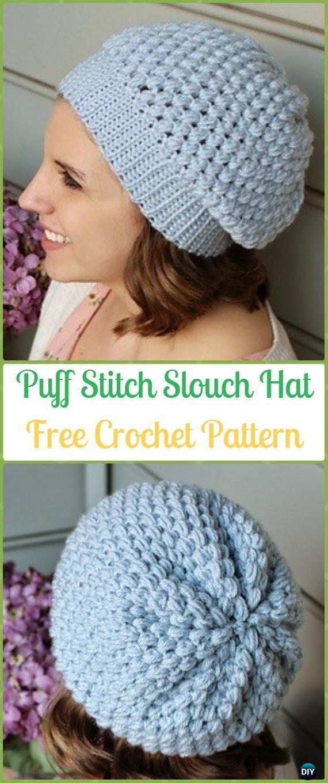 Crochet Puff Stitch Slouchy Beanie Hat Free Pattern -Crochet Slouchy ...