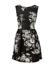 Closet Black Scuba Floral Print Skater Dress  | New Look