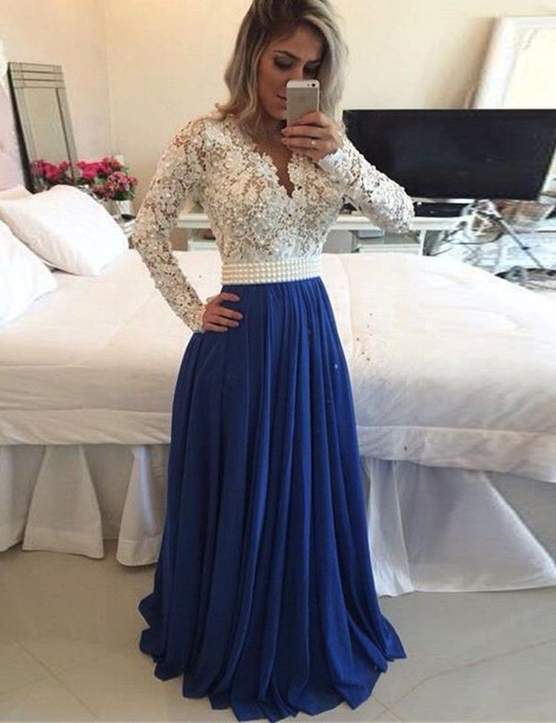 Click to buy ucuc full long sleeve lace prom dresses with applique