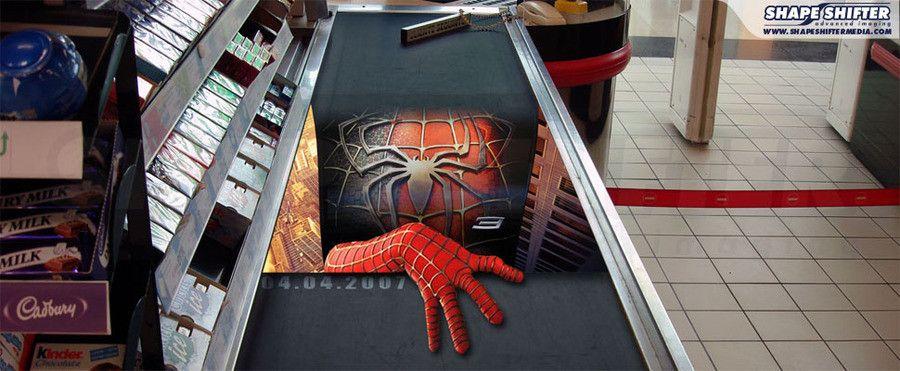 advertising media spiderman movie cash desk