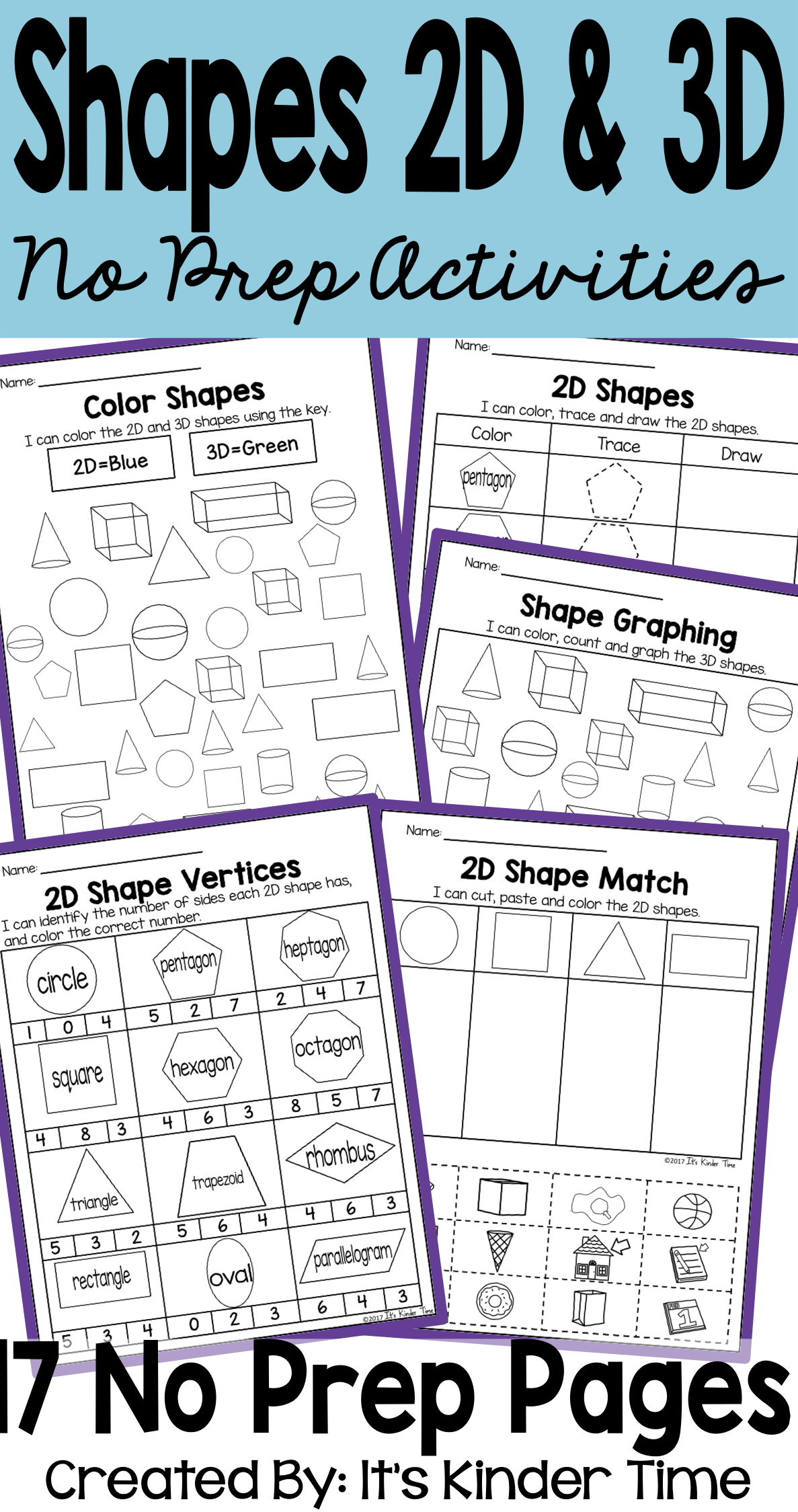 Shapes 2d And 3d No Prep Activities In
