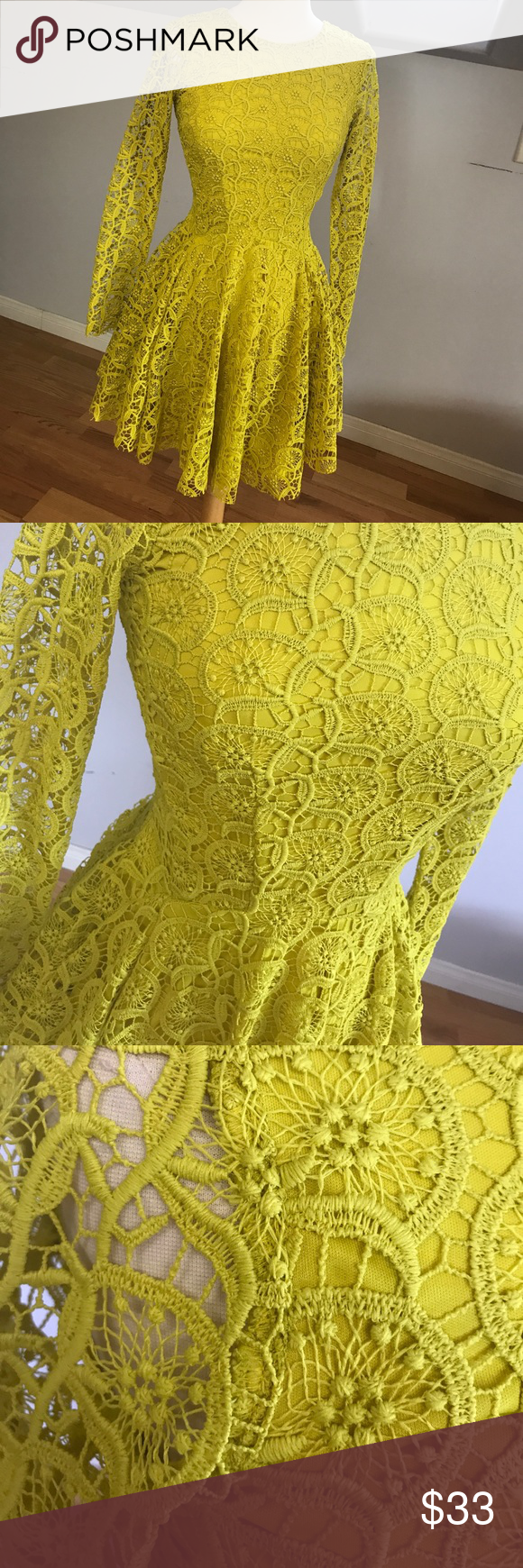 H&m yellow lace dress  NWT HuM lace dress NWT  Asymmetrical skirt Lace dress and