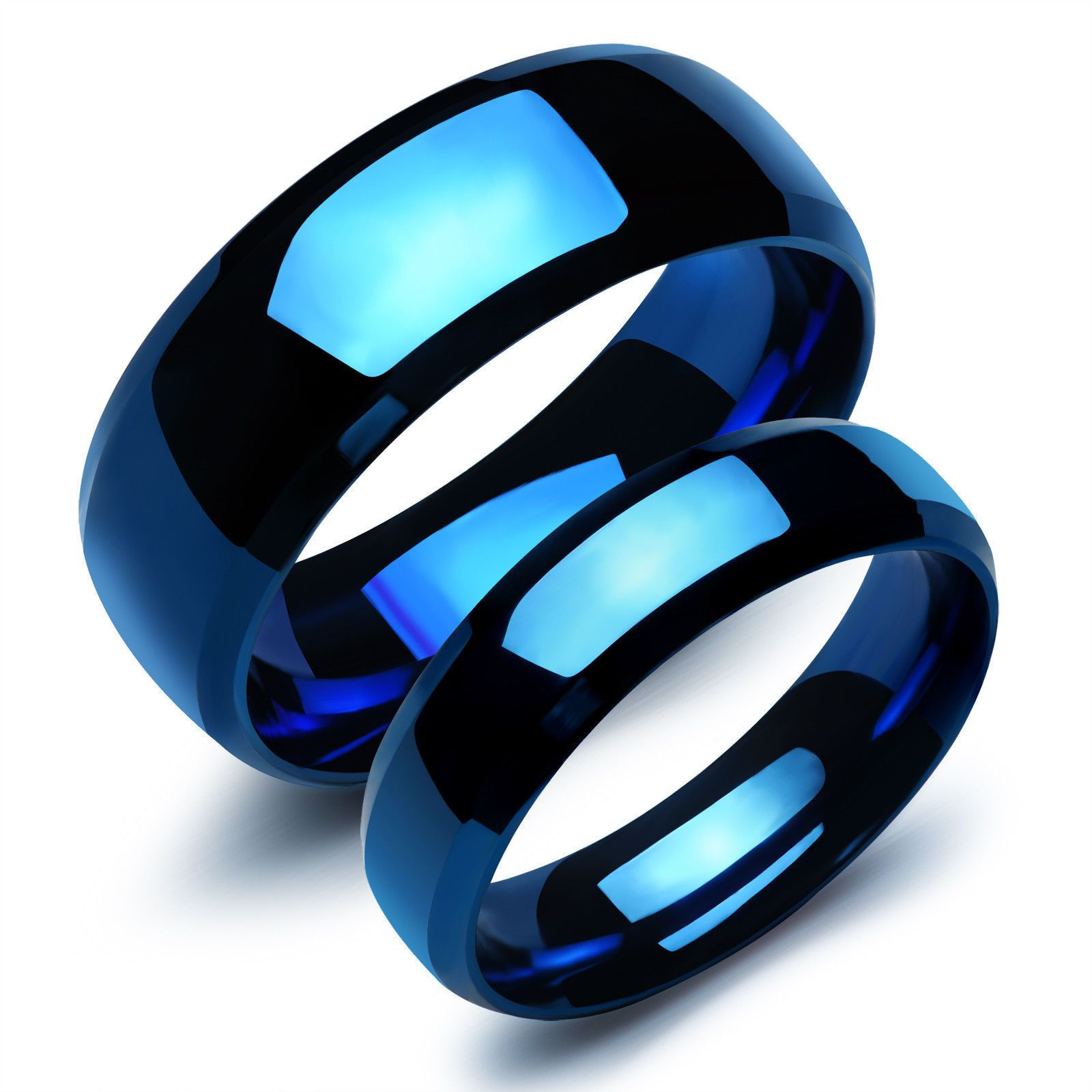 Details about Stainless Steel Couples Blue Engagement Ring Wedding Band Men Women Jewelry Gift