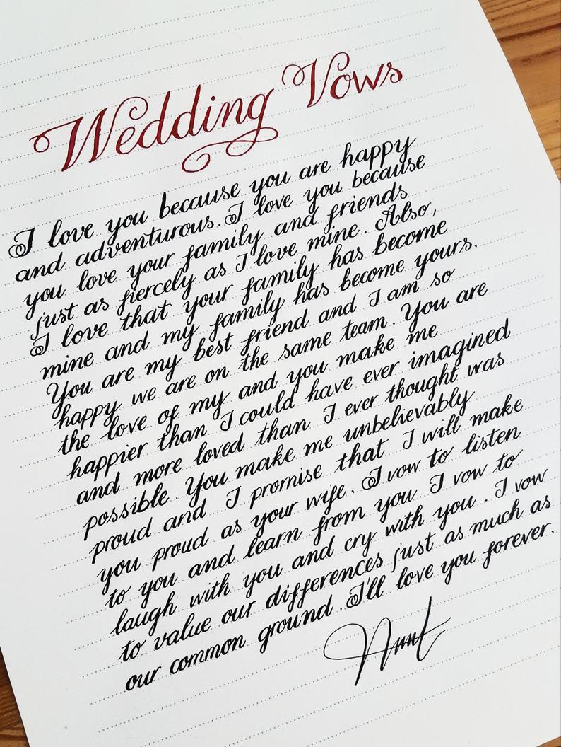 Custom Calligraphy Handwritten Wedding Vows Anniversary Etsy Handwritten Wedding Nice Handwriting Wedding Vows