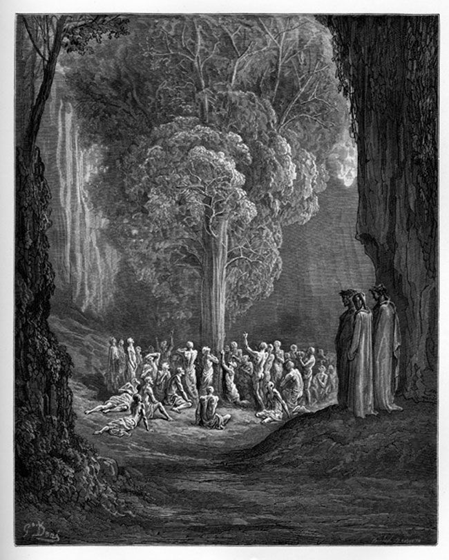 Purgatory: The Gluttons before the strange tree. Creator: Doré, Gustave Date: