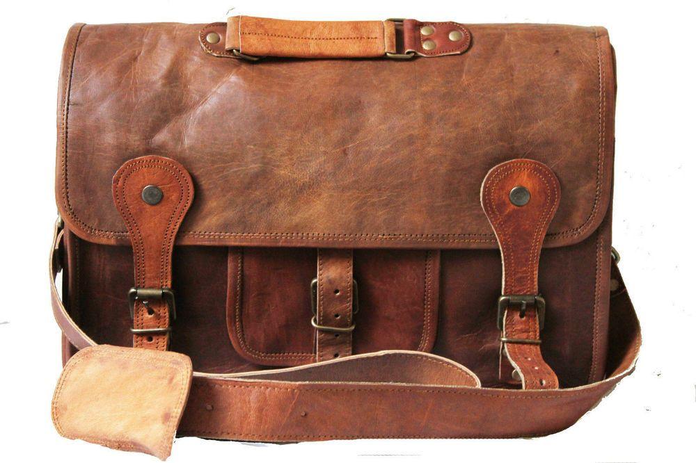 New 16 Vintage leather Messenger Bag for Mens Laptop Bag Office Briefcase
