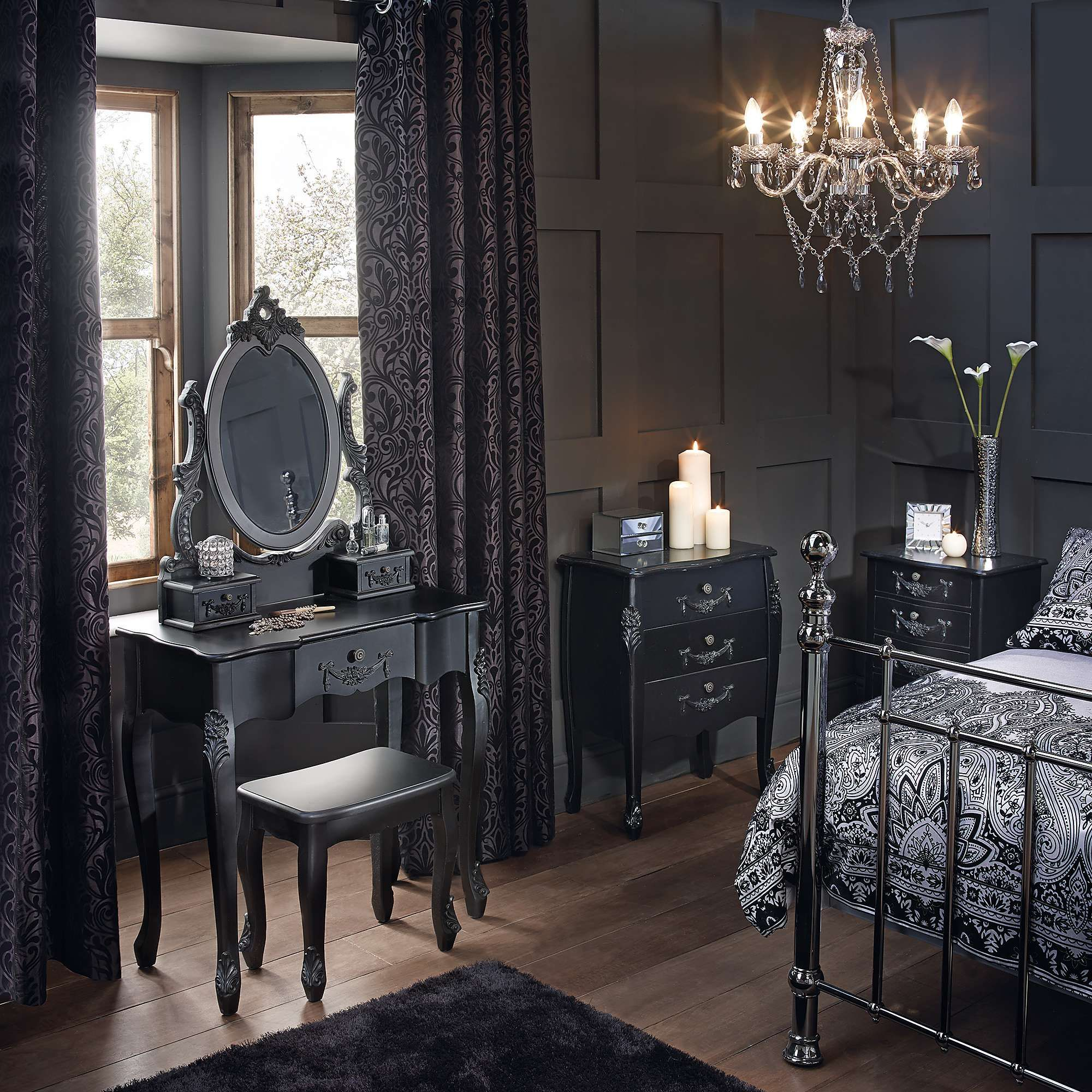 Toulouse Black Bedroom Furniture Collection - Dunelm