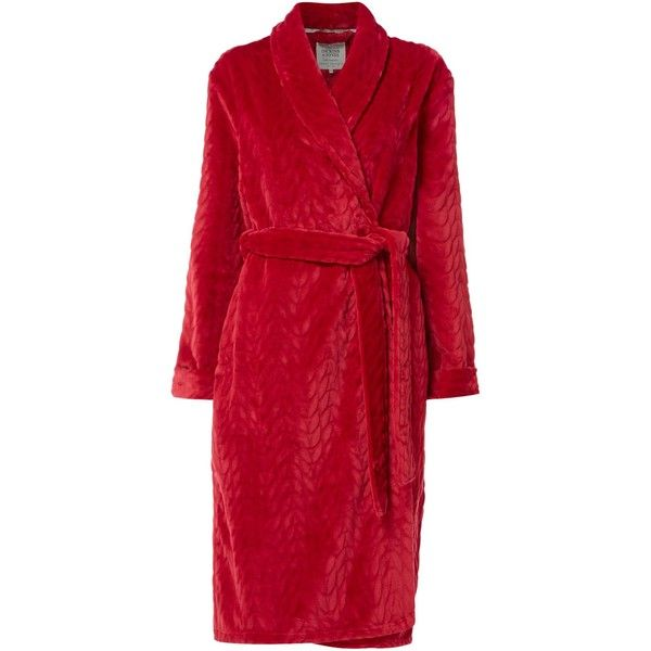 Dickins & Jones Cable Robe ($63) ❤ liked on Polyvore featuring intimates, robes, pink, women, pink robe, pink bath robe, pink bathrobe, bath robes and dressing gown