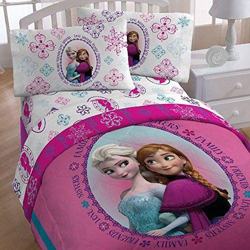 4pc Disney Frozen Twin Bedding Set Anna And Elsa Snowflakes
