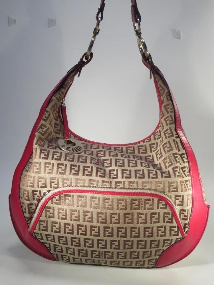 6cfe6521cf Fendi Red Zucca FF Logo Leather Jacquard Shoulder Bag - Italy    Fendi   ShoulderBag