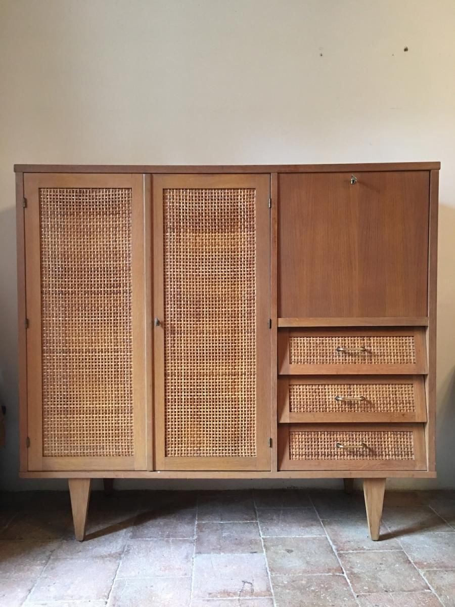 franz sischer vergoldeter eichenholz rattan schrank 1960er bei pamono kaufen m bel aus. Black Bedroom Furniture Sets. Home Design Ideas