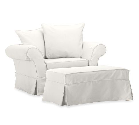 Charleston Chair And A Half Slipcover Twill White