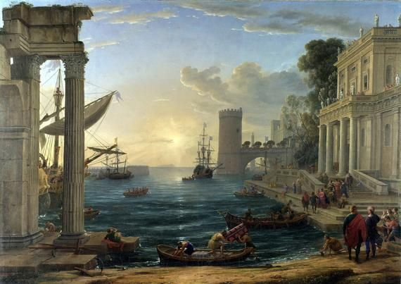 Claude Lorrain Seaport With The Embarkation Of The Queen Of Sheba Fine Art Print Poster 00599 Classic Art Baroque Painting Posters Art Prints