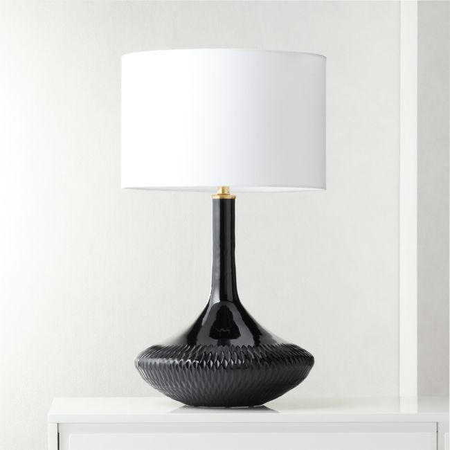 Cb2 August Catalog 2020 Luxor Black Glass Table Lamp Glass Table Lamp Modern Table Lamp Table Lamp