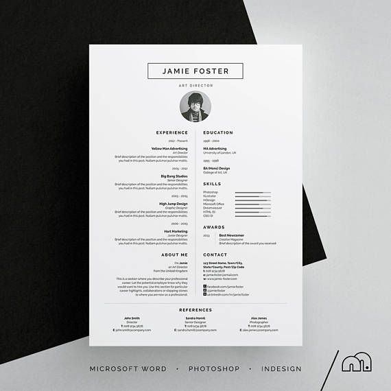 Jamie Resume/Cv Template | Word | Photoshop | Indesign
