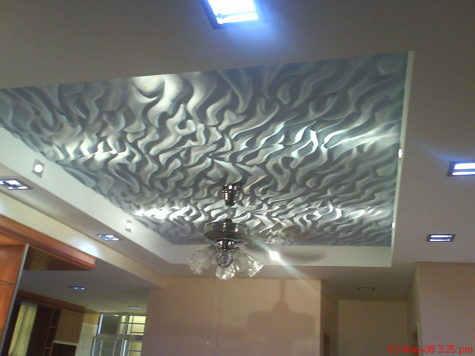 Marvelous Cool White Plafond With Unique Ornament False Ceiling