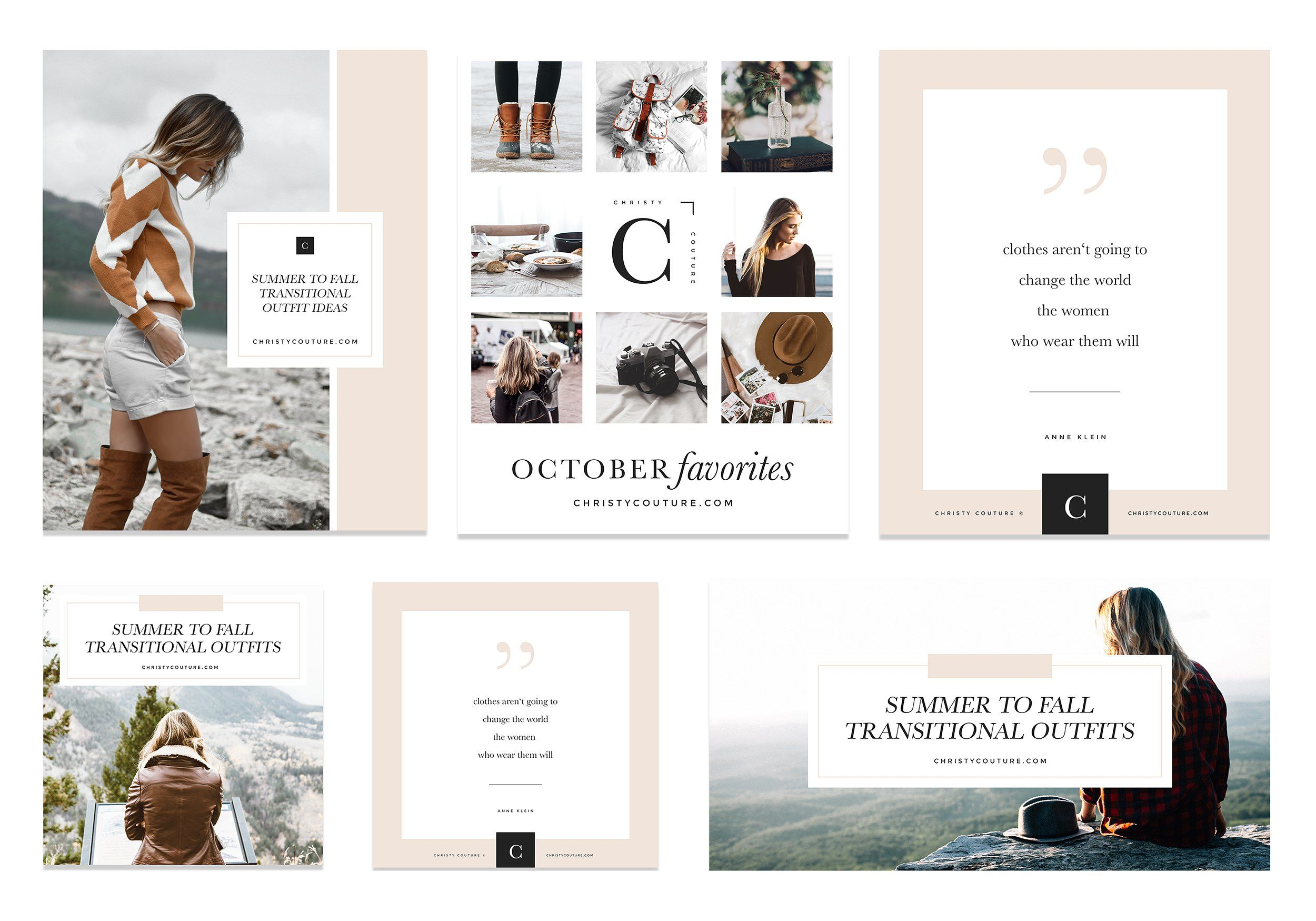 Fashion Blogger Social Media Kit mood board collage post