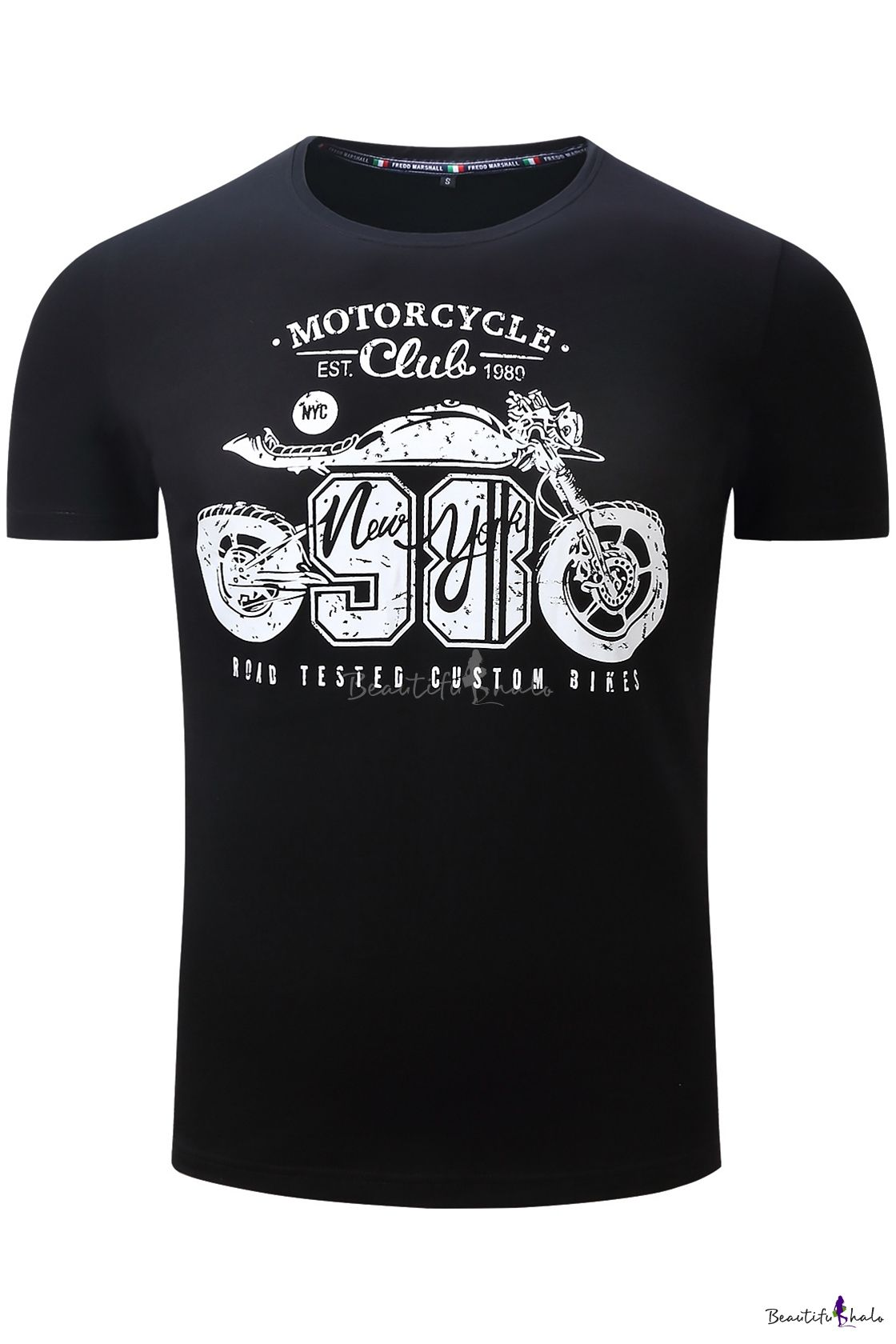 Cool Number Motorcycle Graphic Letter Pattern Round Neck
