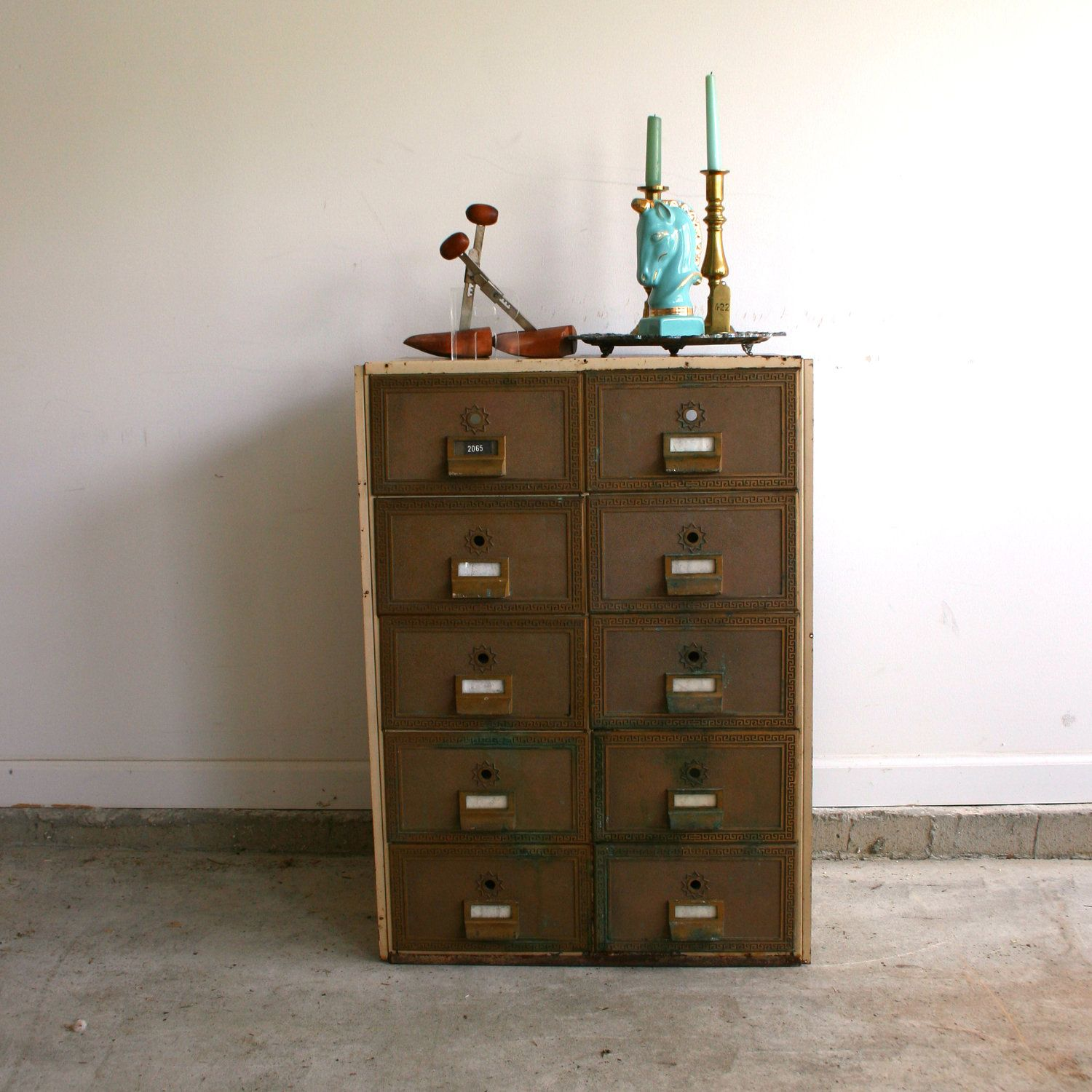 There is a dressing table mirror and lockers and drawersgalore - Industrial Side Table Mailbox File Cabinet Post Office Drawers Mail Box Storage Unit