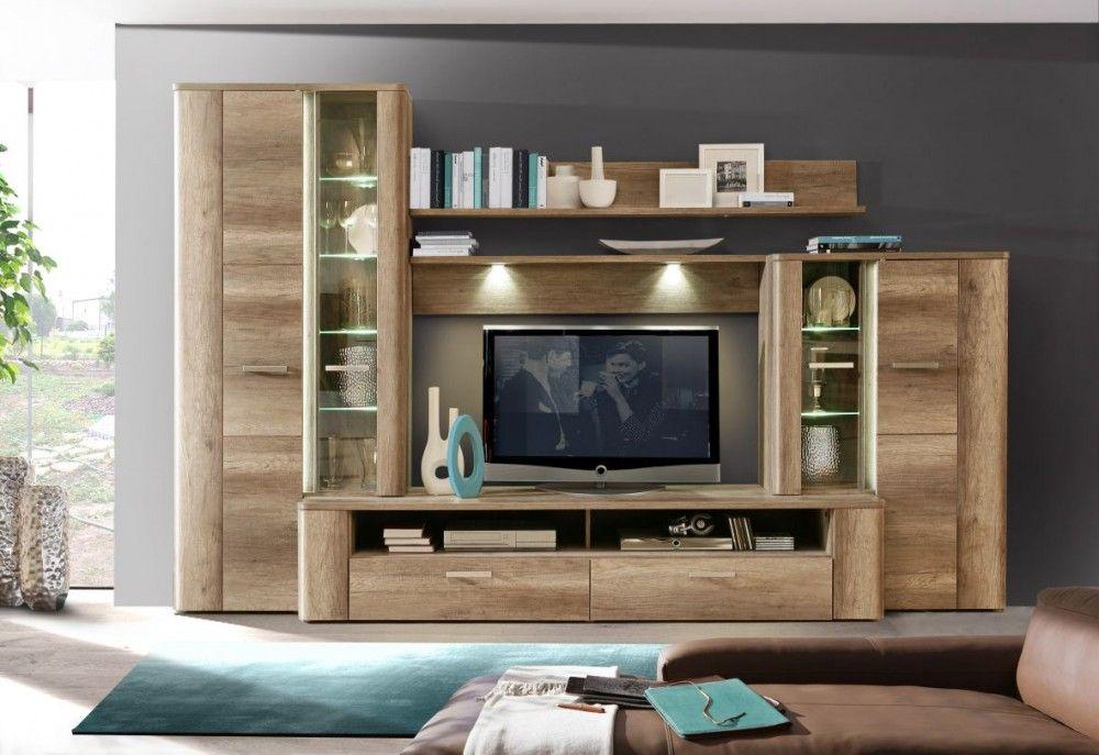 Wohnwand Eiche antik Merken - schrankwand wohnzimmer modern