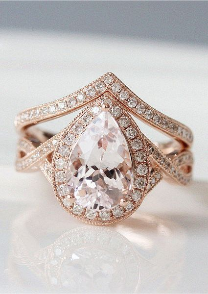 Unique Wedding Ring Set 7x10mm Pear Cut Morganite Engagement
