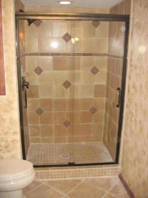 image of semi frameless sliding doors on an tiled shower