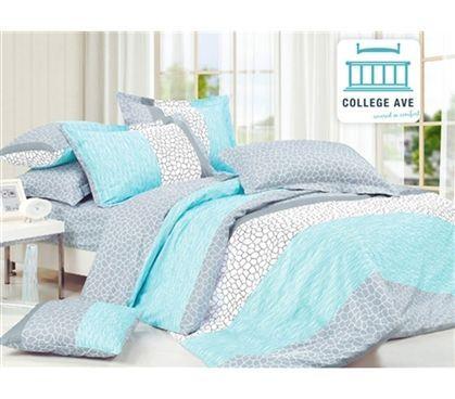 Superior Dove Aqua Twin XL Comforter Set   College Ave Designer Series Cotton  Comforters Bed Sets For Girls