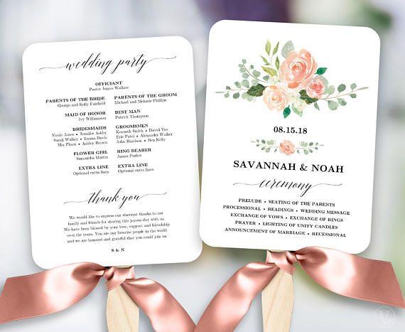 Peach Blush Floral Wedding Program Fan Template Printable Programs DIY Fans