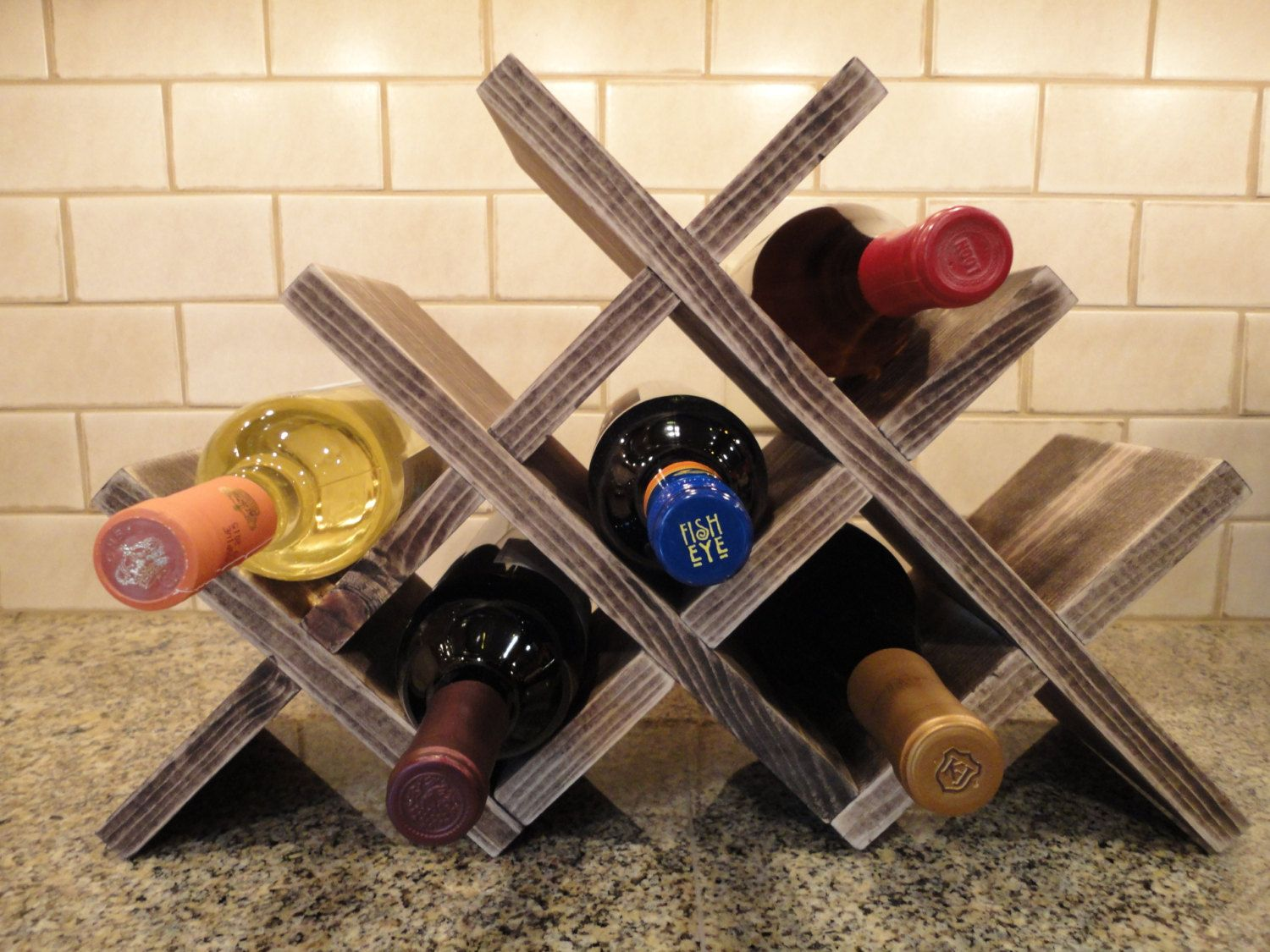 Wine Rack Table Top 8 Bottles Wood Wine By Rusticcreekwoodprod