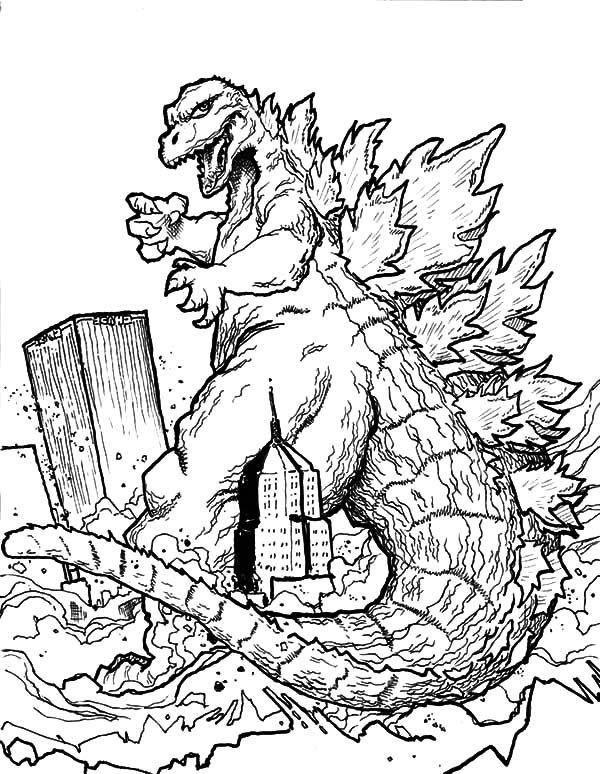 Godzilla Godzilla Destroying Town Coloring Pages Super