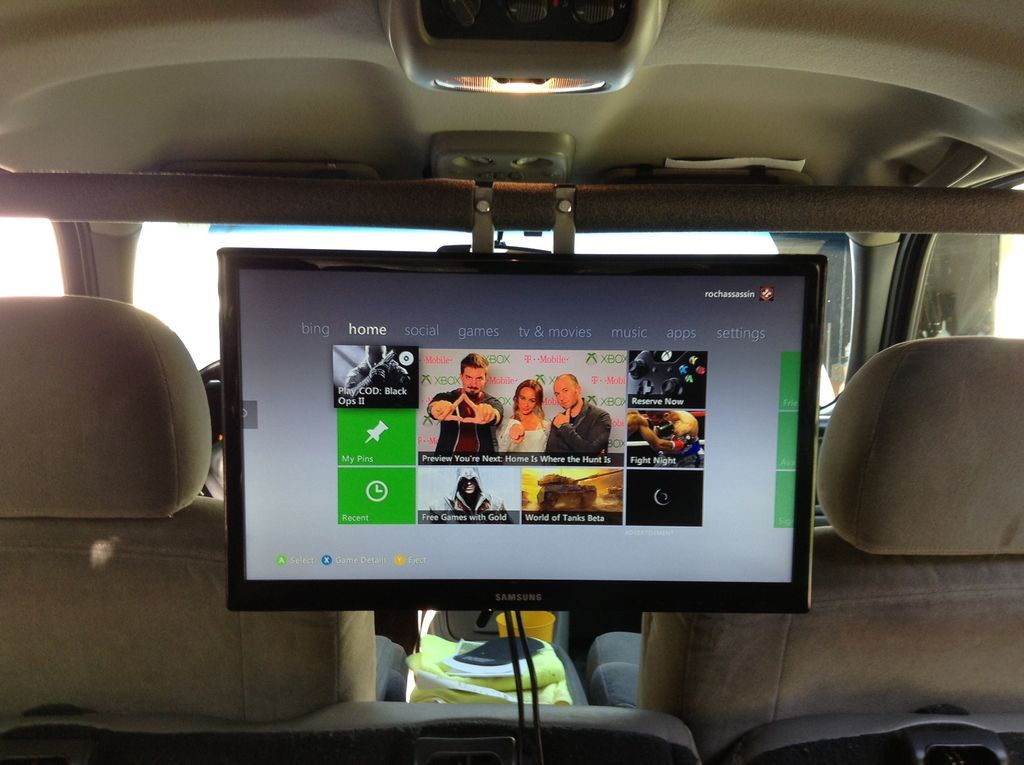 Put A 19in Tv And Game Console In Your Car Diy Tv Mounting Car Console Tv Cars