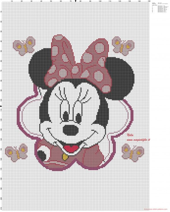 Minnie cuscino (click to view) | Mickey Mouse cross stitch ...