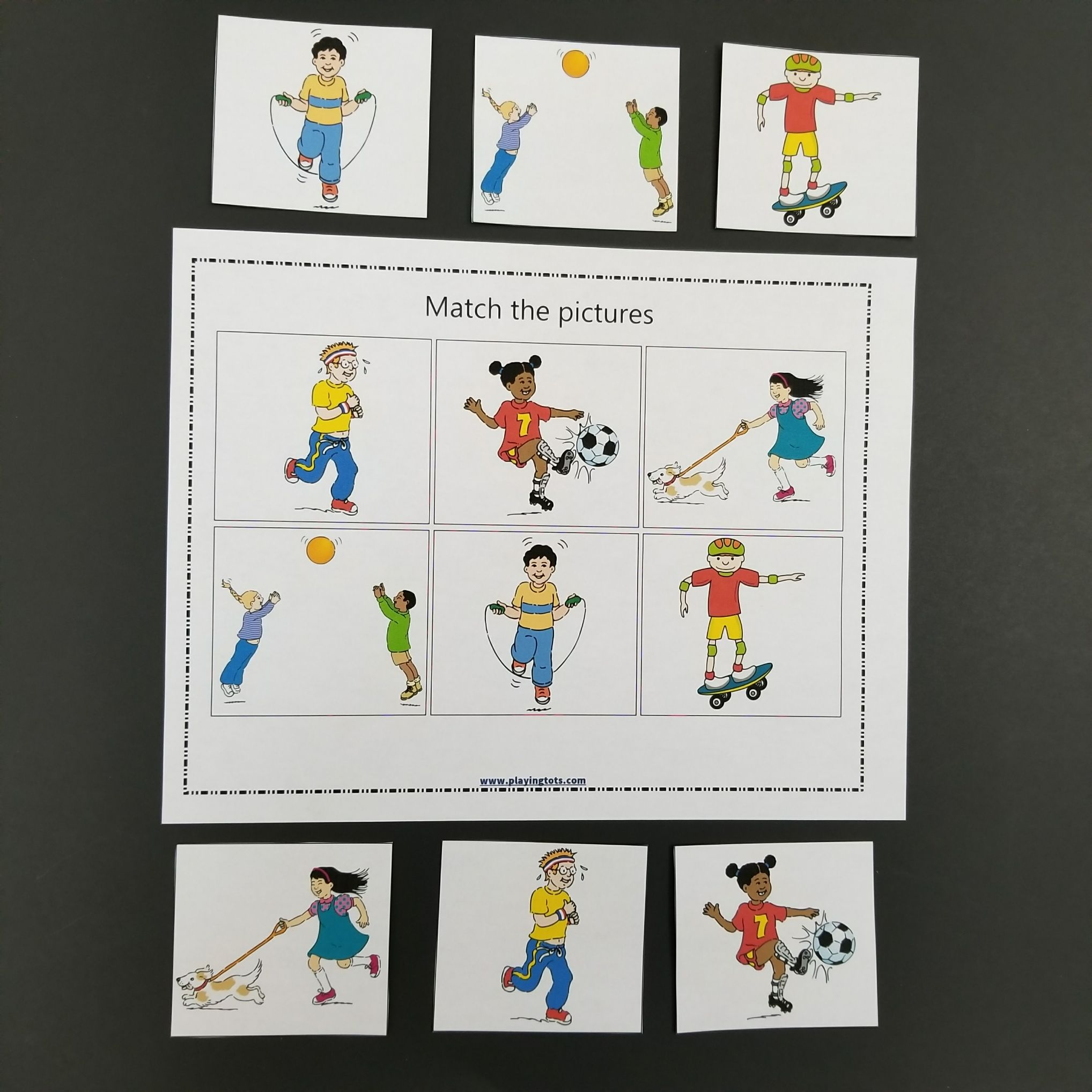 Keywords Matching Activities Park Toddler Free Printable