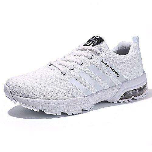 473f799ea317 Kuako Chaussures de Course Basket Compétition Running Sport Trail  Entraînement Multisports Homme Femme - Blanc - 38 EU