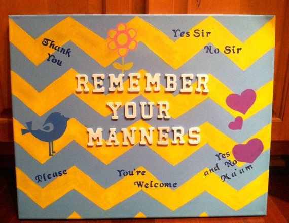 Manners canvas painting, play room painting, children's art