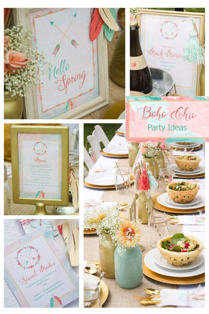 Boho Chic Party Ideas For Bridal Showers Weddings Engagements Adult Birthdays And More