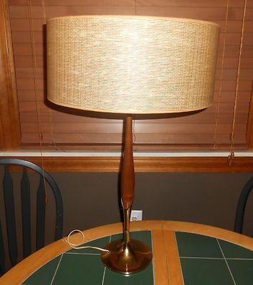 Laurel Mid Century Modern Laurel Walnut Brass Table Lamp ...