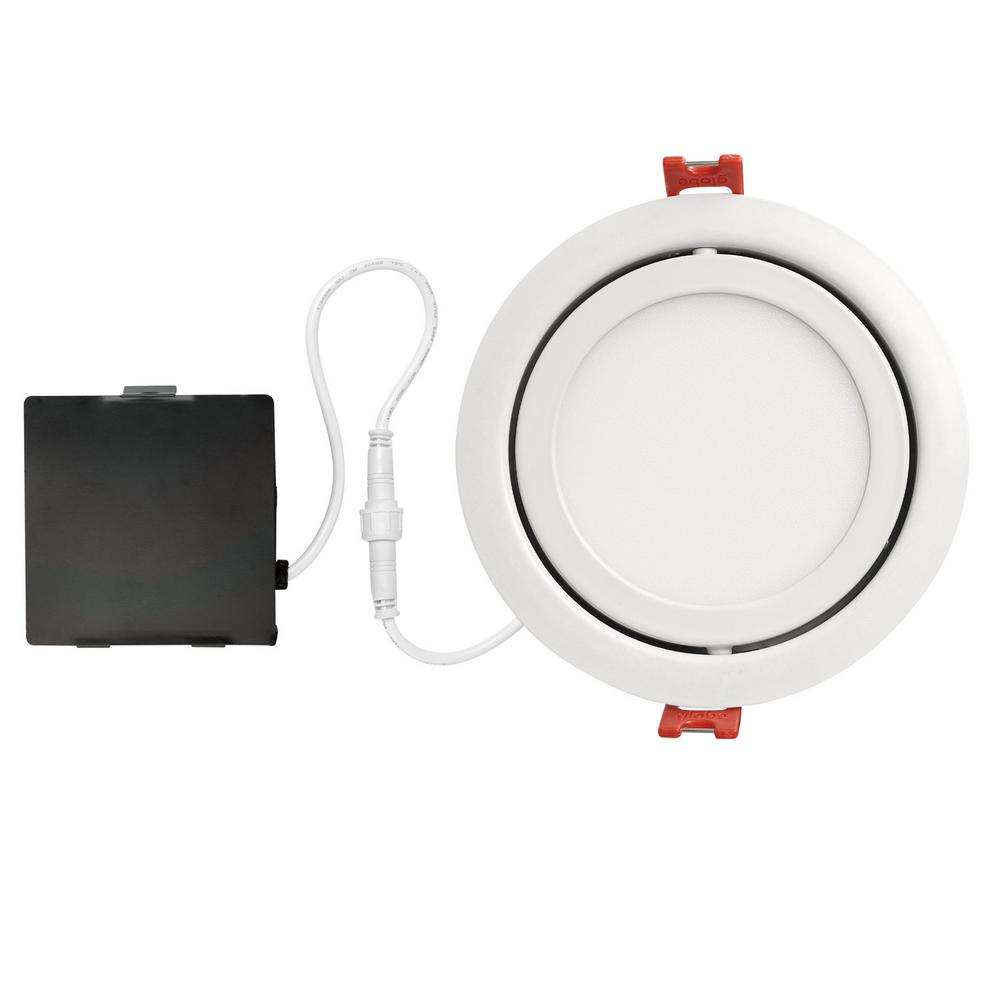 Globe Electric Slimline Swivel 4 In White Finish Integrated Led Recessed Kit Recessed Lighting Kits Led Recessed Lighting Led