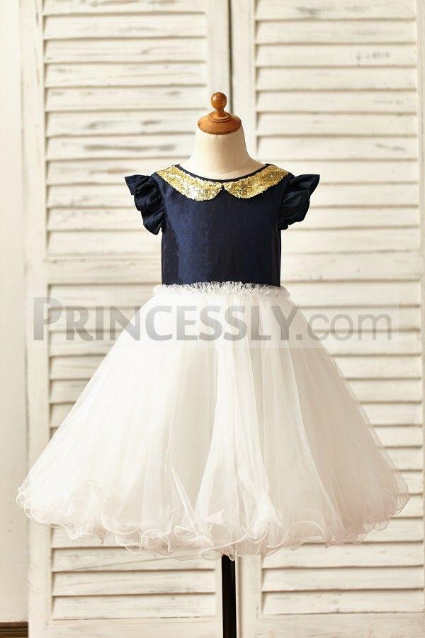 0006a002e7 Ruffle Sleeves Navy Blue Taffeta Peter Pan Gold Sequin Collar Tulle Flower  Girl Dress