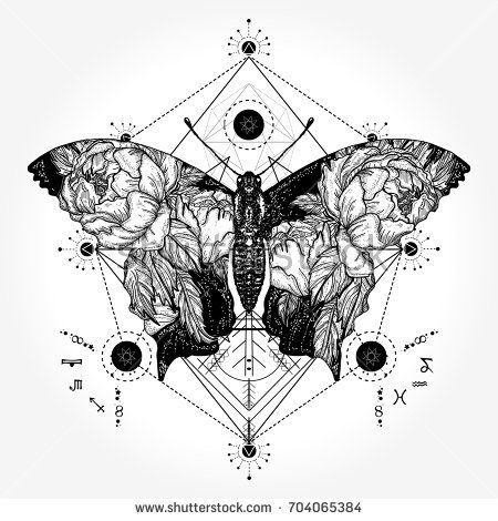 b7bf074bb Butterfly tattoo in geometrical style. Tattoo for woman, style double  exposure. Beautiful butterfly boho t-shirt design, wings and roses, symbol  of freedom, ...