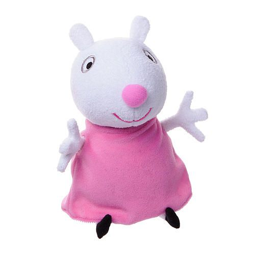 Oink Oink! Have fun with Peppa Pig on the go with the small Plush assortment! The ultra-soft, ultra-squishy and ultra-adorable plush characters are the perfect addition to any playroom. Made of durable fabric, plush are available in Peppa, George, Danny and Suzy Sheep styles. Each plush sold separately. <br><br>Item measures 7 inch H x 3 inch D x 4  inch W. <br><br>The Peppa Pig Small 7 inch Plush - Suzy with Sound Features:<br><ul><li>Made of durable fabric</li><br><li>Approximately 7…