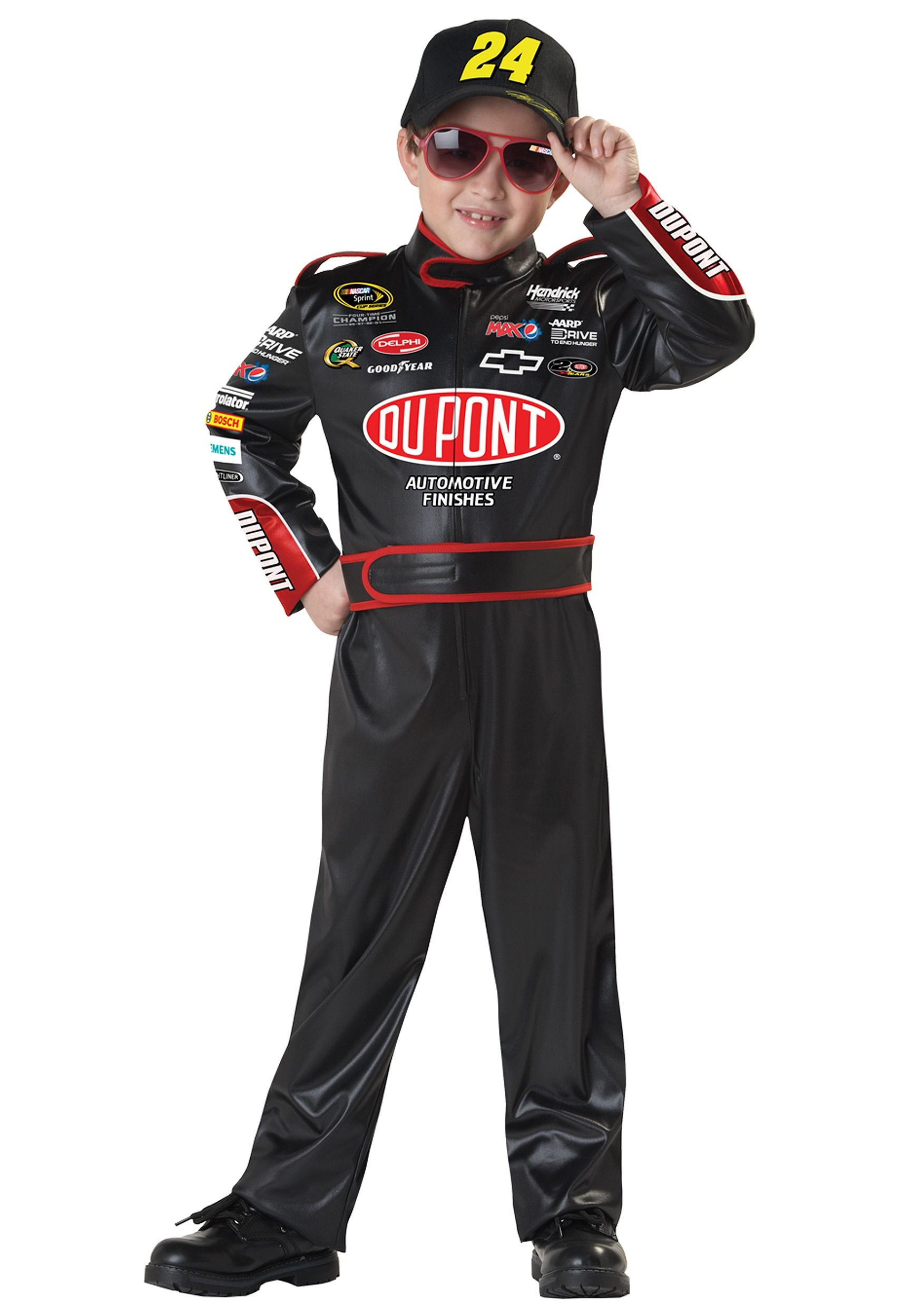 nascar jeff gordon child costume includes jumpsuit with team logos and attached belt printed cap