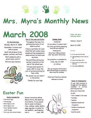 The Preschool Newsletter Kindergarten Newsletter Preschool