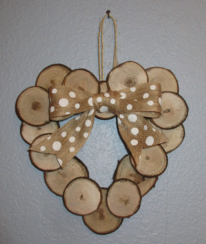 Photo of Wreath, Wood Slice Wreath, Wooden Wreath, Valentine's Day Wreath, Front Door Wreath, Housewarming, Rustic Wreath, Wreath For Door, Home Decor