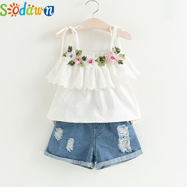 76c7575e516 Sodawn Fashion Girls Clothing Set 2018 Summer Baby Girls Clothes White  Jacket Flower Decoration+Denim Shorts Children Clothes